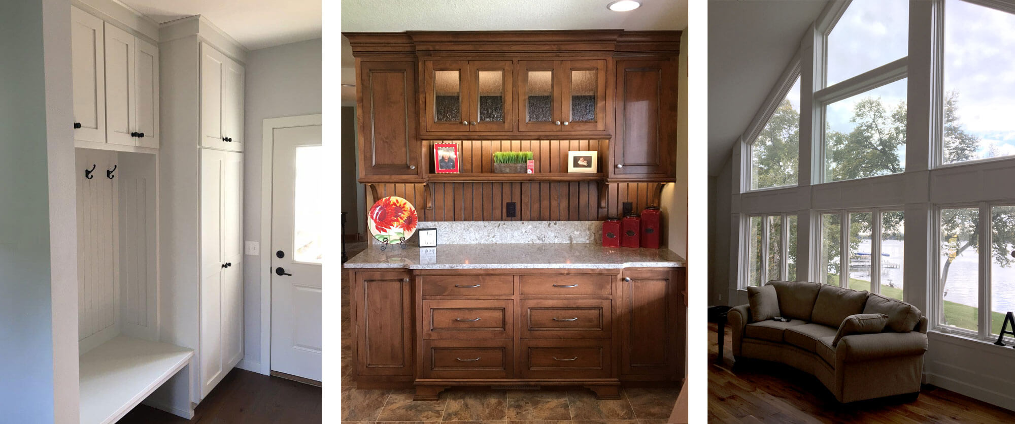 Grouping of three custom woodwork peices designed, built, and installed by finewood Structures of Browerville, MN | A white floor to ceiling entryway cabinet and lockers; an Alder floor to ceiling china hutch; and floor to ceiling window mouldings
